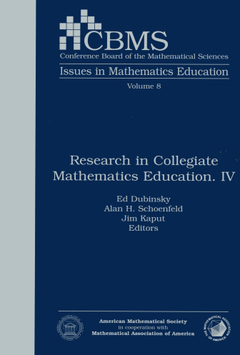 Research in Collegiate Mathematics Education. IV cover image