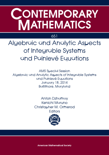 Algebraic and Analytic Aspects of Integrable Systems and Painleve Equations cover image